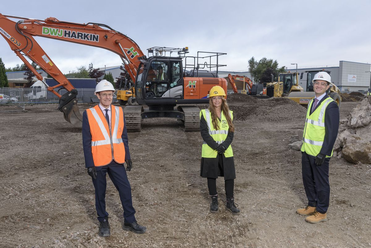 Mayor Andy Street, Michelle Elleman from mac-group and Paul Hodge from Warmflame Developments at the Cakemore Road site